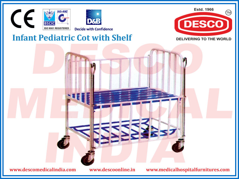 INFANT PEDIATRIC COT WITH SHELF