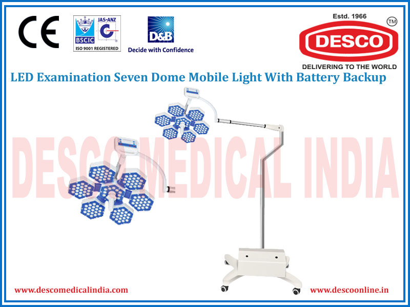 LED EXAMINATION SEVEN DOME MOBILE LIGHT WITH BATTERY BACKUP