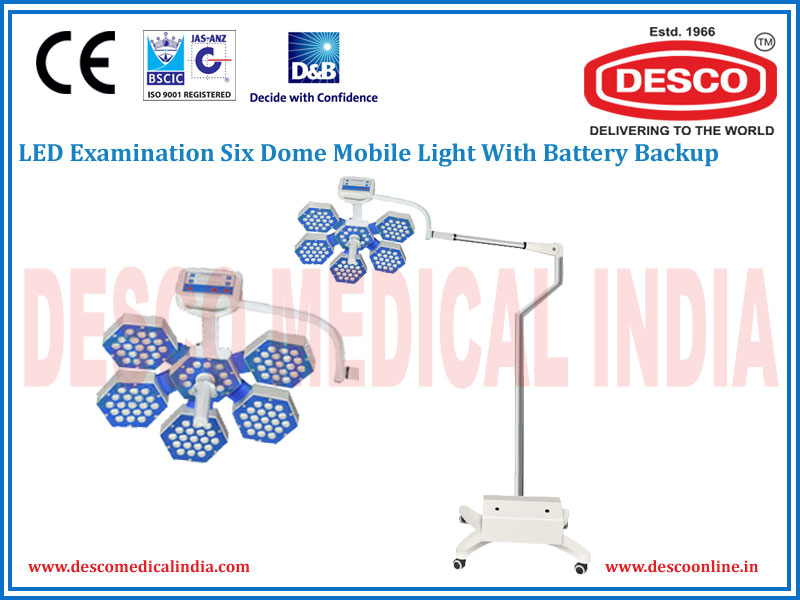 LED EXAMINATION SIX DOME MOBILE LIGHT WITH BATTERY BACKUP