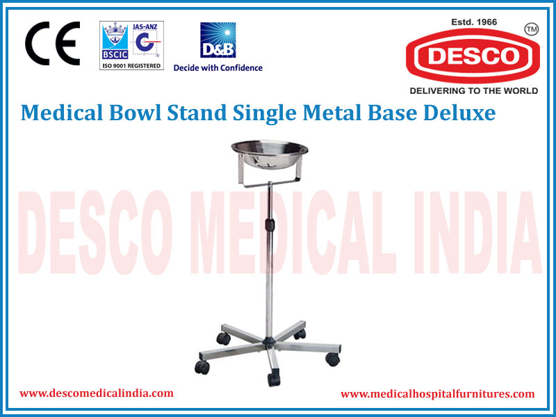MEDICAL BOWL STAND SINGLE METAL BASE DELUXE