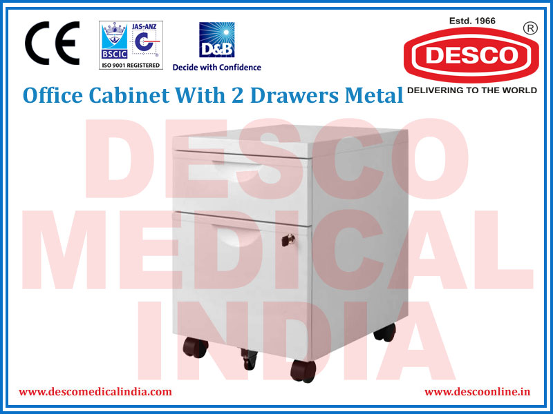 OFFICE CABINET WITH 2 DRAWERS METAL